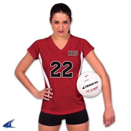 Champro SPIKE Ladies Volleyball Jersey Scarlet White Xsmall
