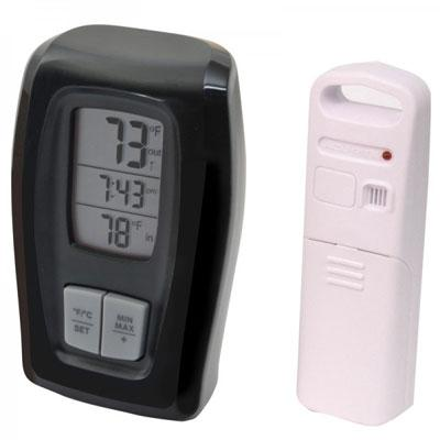 Acu Wireless Thermometer Clock Black