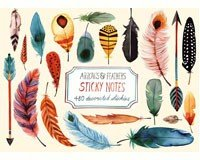Arrows & Feathers Sticky Note Set