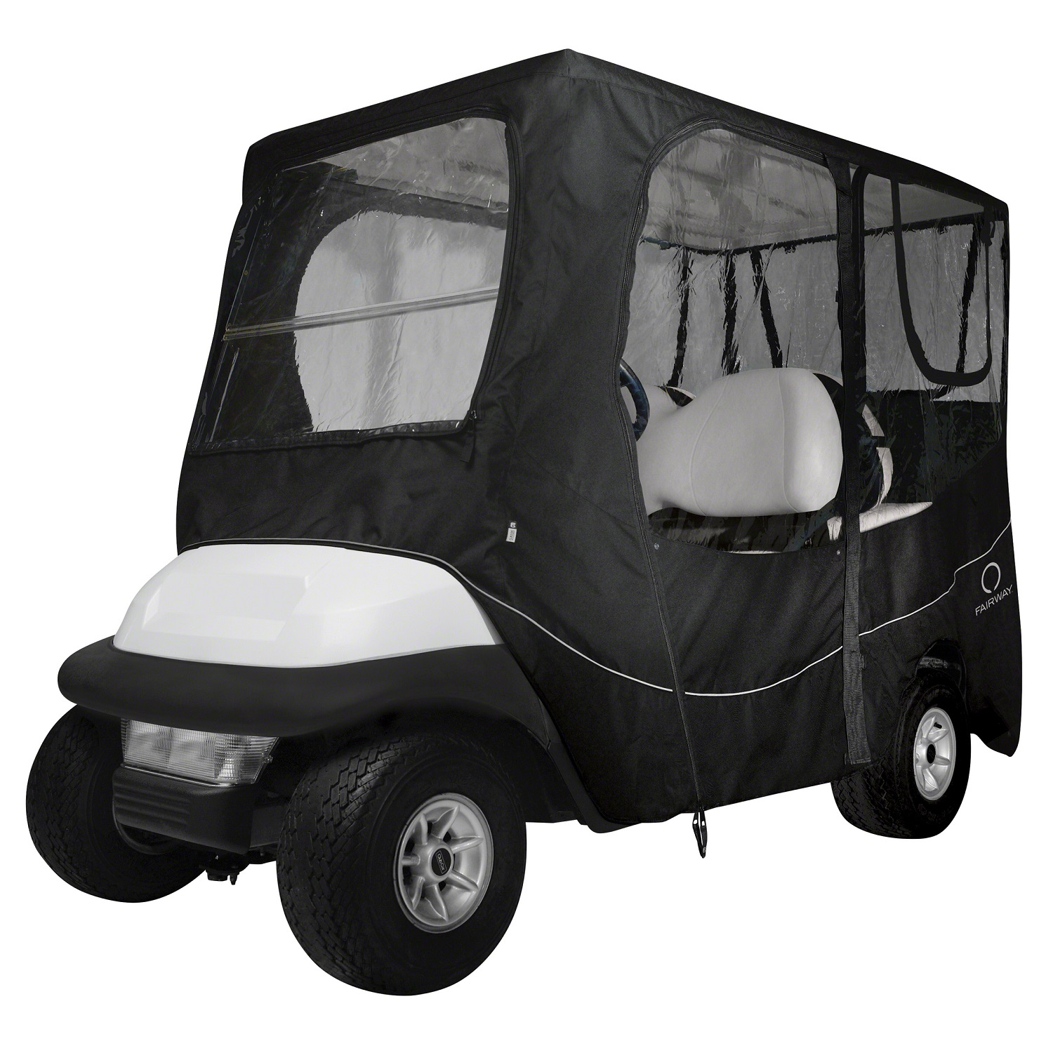 Fairway Golf Cart Deluxe Enclosure Long Roof - Black