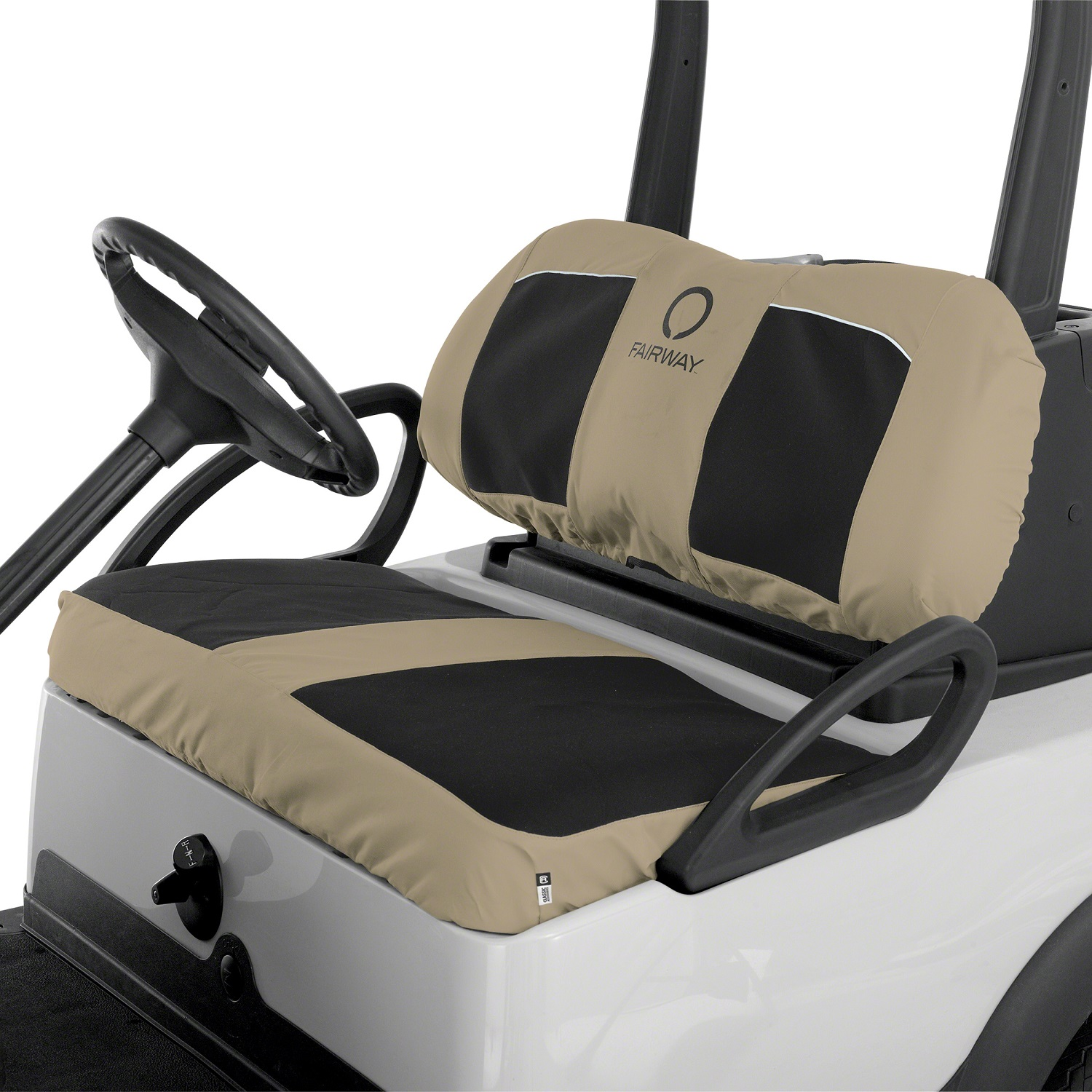 Fairway Golf Cart Neoprene Panel Bench Seat Cover-Blck/Khaki