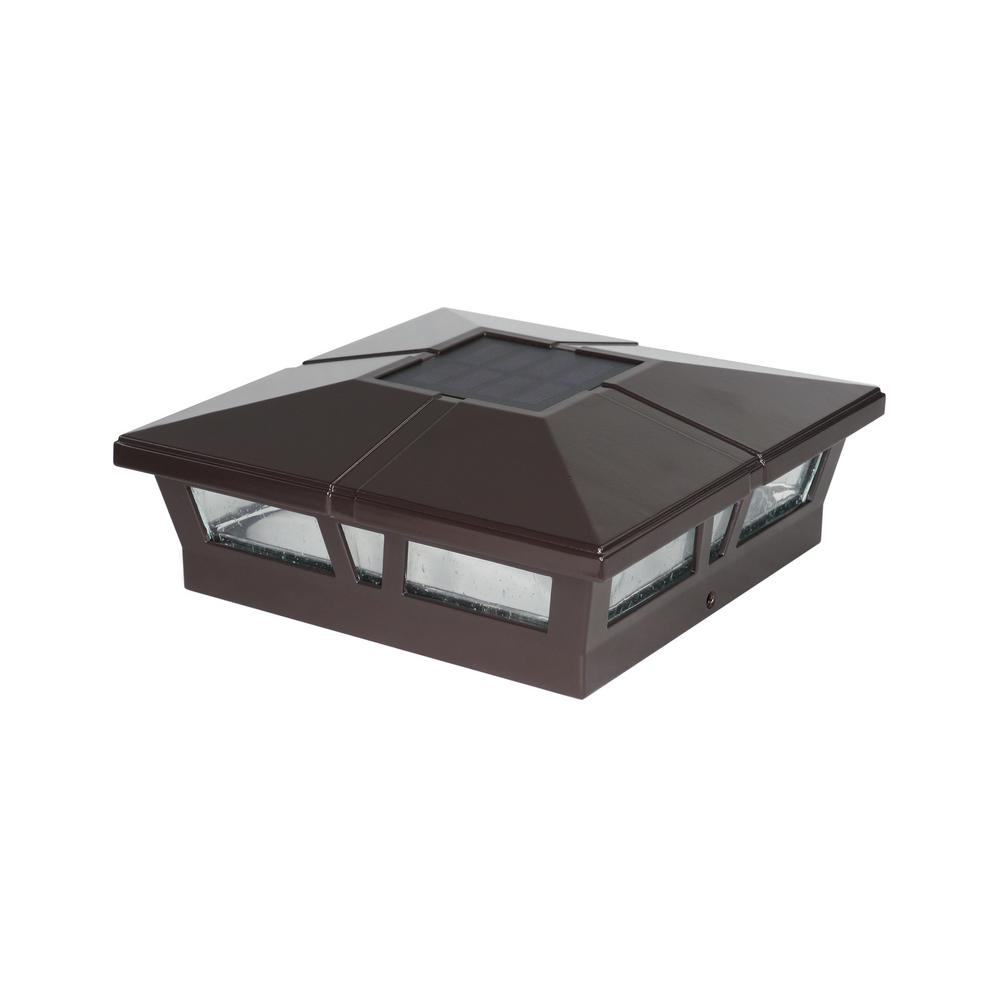 6x6 BROWN ALUMINUM CAMBRIDGE SOLAR POST CAP