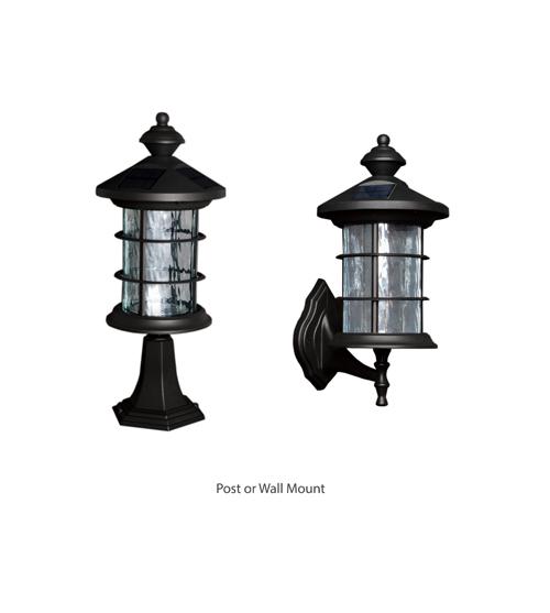 BLACK ALUMINUM HAMPTON SOLAR LAMP