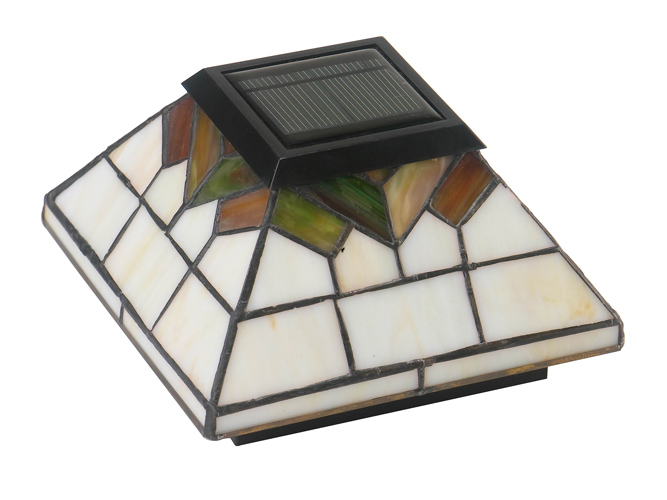 5x5/4x4/3.5x3.5 STAINED GLASS WELLINGTON SOLAR POST CAP