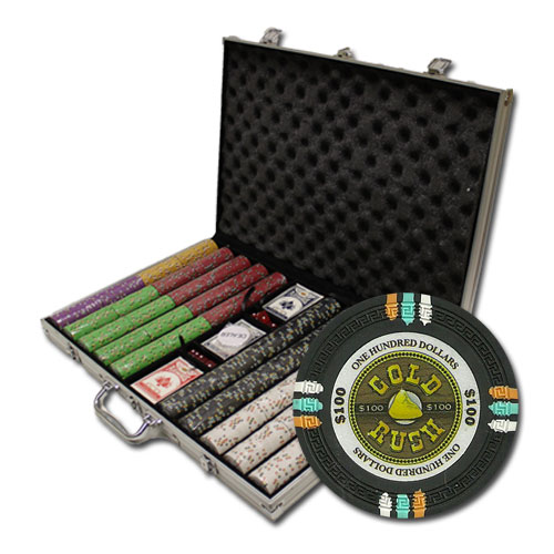 1000Ct Claysmith Gaming Gold Rush Poker Chip Set in Aluminum