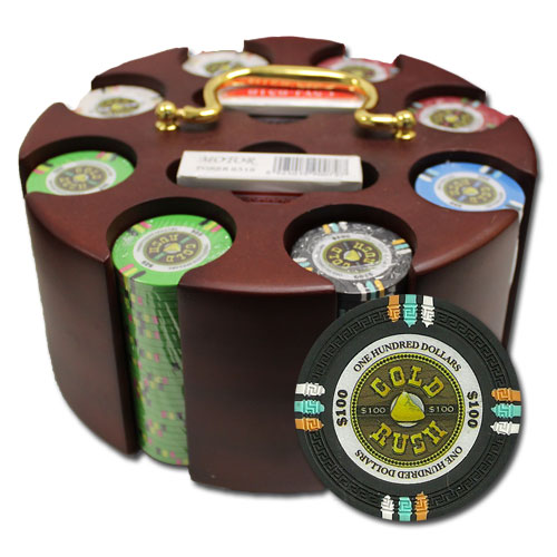200Ct Claysmith Gaming Gold Rush Poker Chip Set in Carousel Case