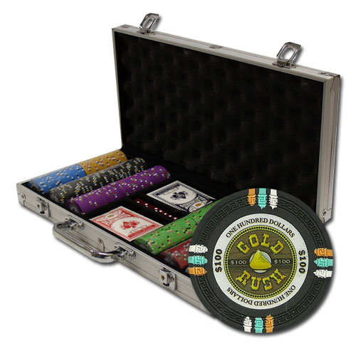 300Ct Claysmith Gaming Gold Rush Poker Chip Set in Aluminum Case
