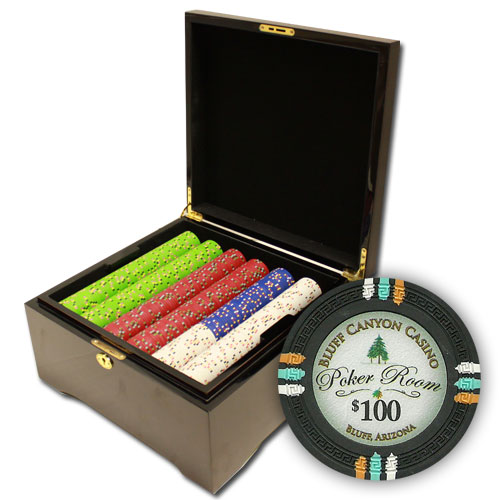 750Ct Claysmith Bluff Canyon Poker Chip Set in Mahogany Case