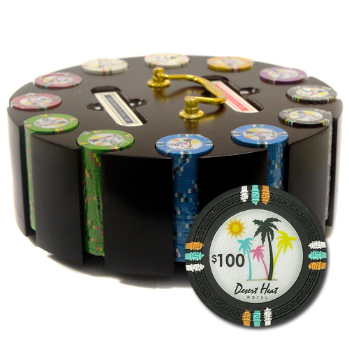 300Ct Claysmith Gaming Desert Heat Poker Chip Set in Carousel