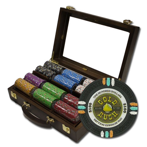 300Ct Claysmith Gaming Gold Rush Poker Chip Set in Walnut Case