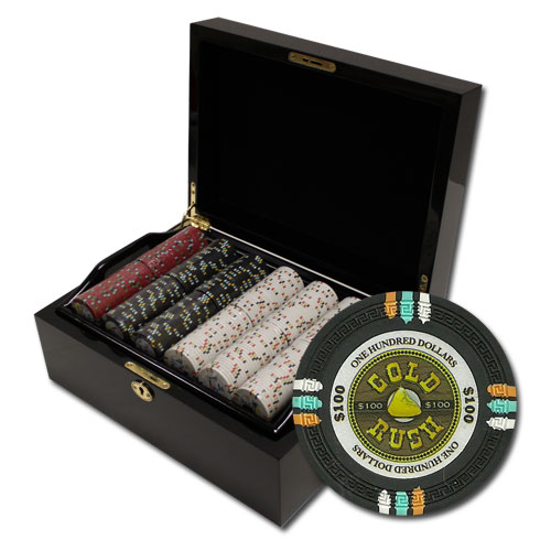500Ct Claysmith Gaming Gold Rush Poker Chip Set in Mahogany Case