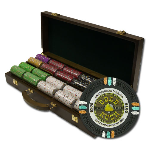 500Ct Claysmith Gaming Gold Rush Poker Chip Set in Walnut Case