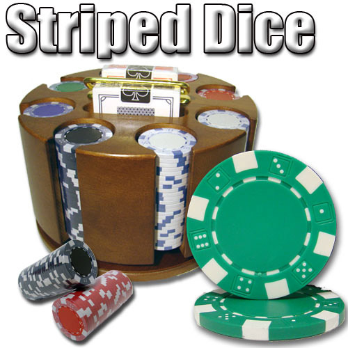 200 Count - Pre-Packaged - Poker Chip Set - Striped Dice 11.5 G - Carousel