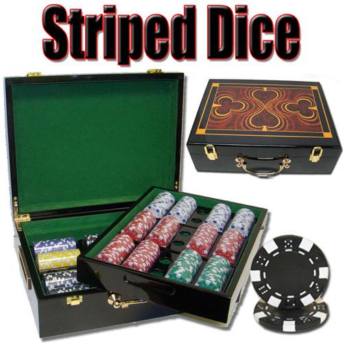 500 Count - Custom - Poker Chip Set - Striped Dice 11.5g - Hi Gloss