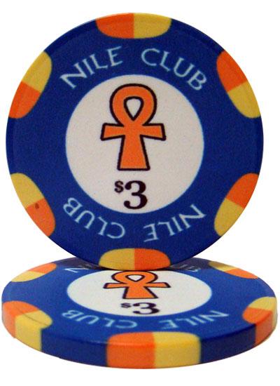 $3 Nile Club 10 Gram Ceramic Poker Chip