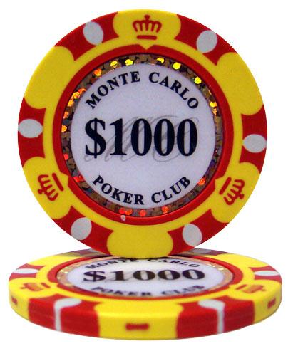 $1000 Monte Carlo 14 Gram Poker Chips