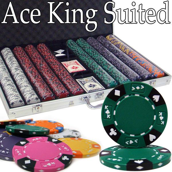Custom - 1000 Ct Ace King Suited Poker Chip Set Aluminum Case