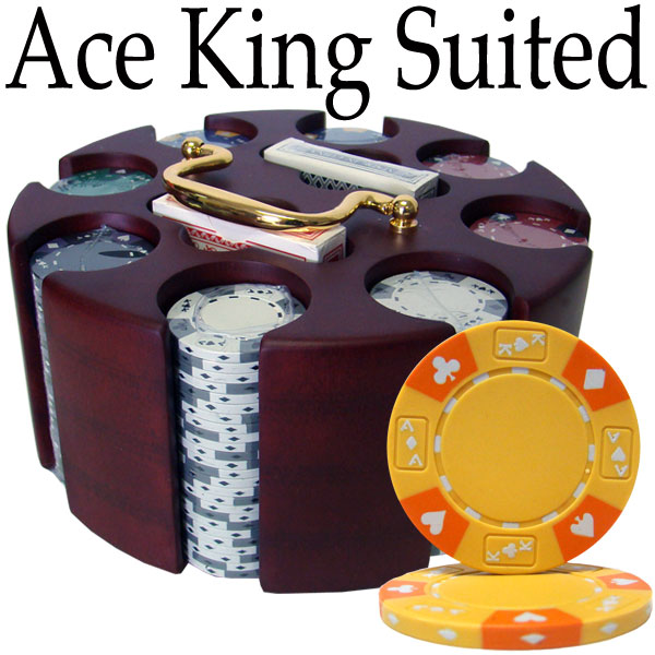 Custom - 200 Ct Ace King Suited Poker Chip Set Wooden Carousel