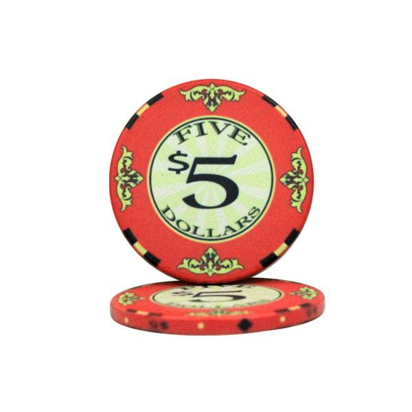 $5 Scroll 10 Gram Ceramic Poker Chip