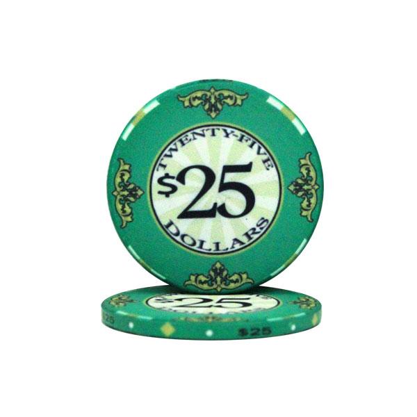 $25 Scroll 10 Gram Ceramic Poker Chip