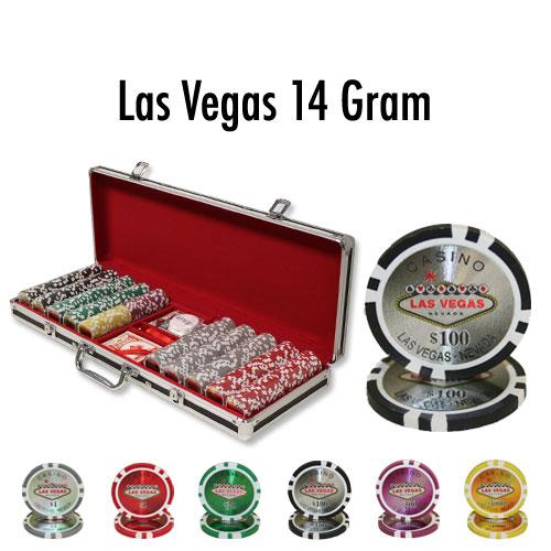 500 Count - Pre-Packaged - Poker Chip Set - Las Vegas 14 G - Black Aluminum