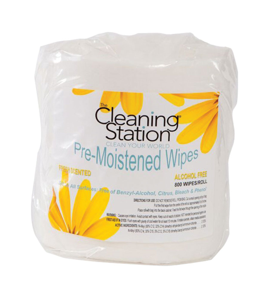 The Cleaning Station Pre-Moistened Wipes - 4 Rolls Per Case, 800 Wipes/Roll
