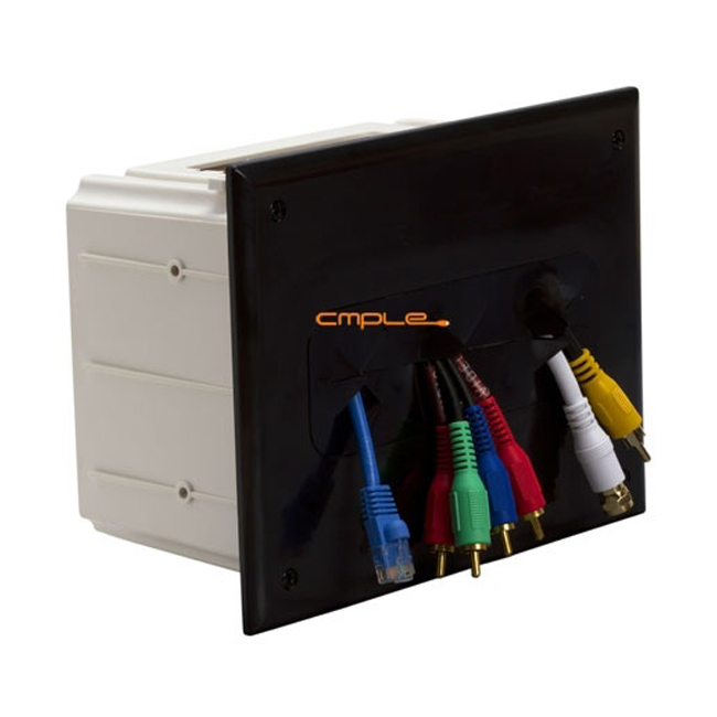 Cmple Wall plate - Recessed Media Box Black