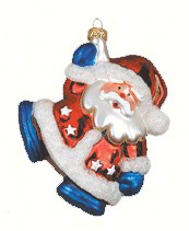 Red White and Blue Santa Ornament