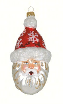 Snowflake Santa Red Ornament