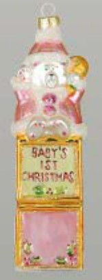 Baby's First Christmas Bear Pink Ornament