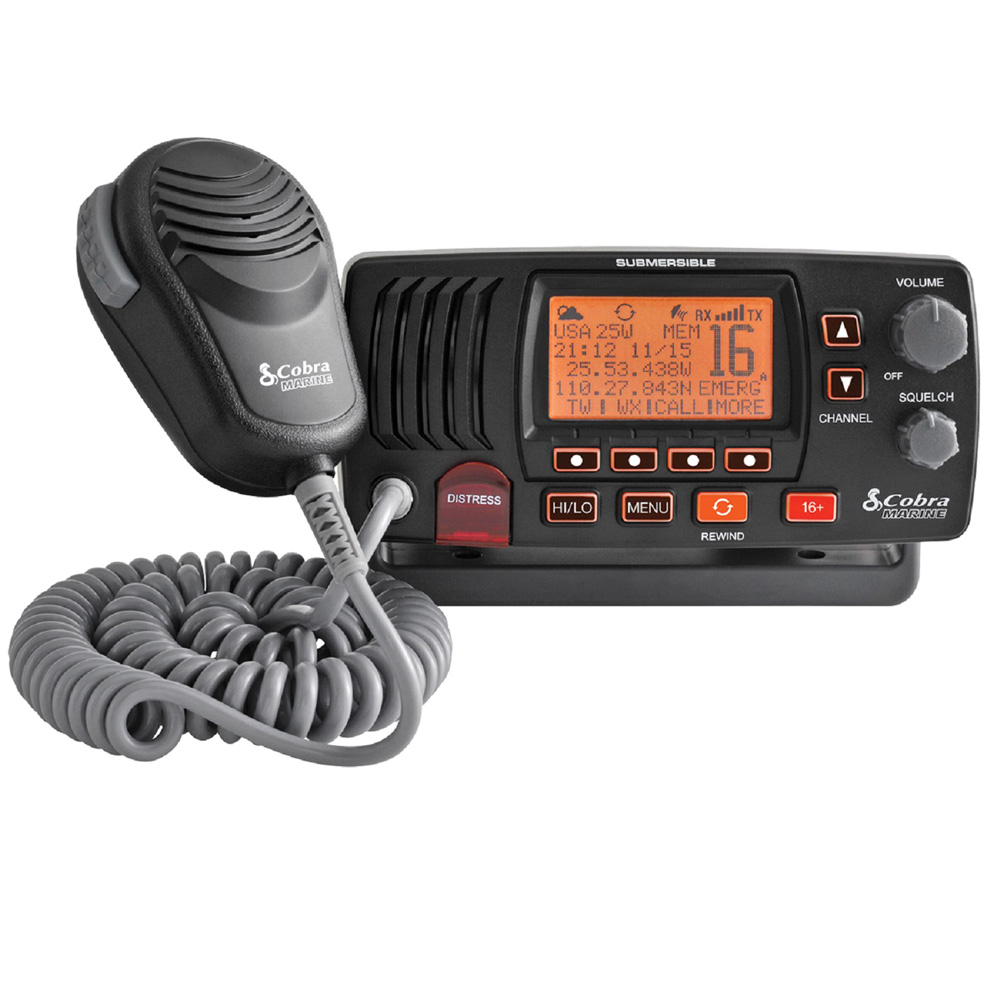 COBRA MRF57W CLASS D 25 WATT SUBMERSIBLE VHF MARINE RADIO WITH RADIO CHECK & NOAA WEATHER - IN WHITE