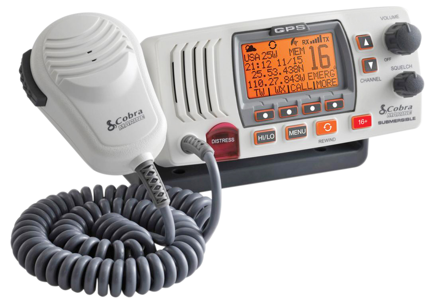 COBRA MRF77WGPS CLASS D 25 WATT IPX8/JIS8 SUBMERSIBLE VHF MARINE RADIO WITH GPS - IN WHITE