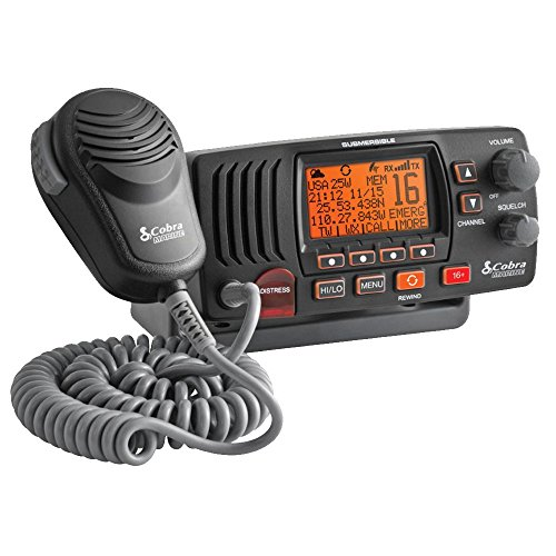 COBRA MRF57B CLASS D 25 WATT SUBMERSIBLE VHF MARINE RADIO WITH RADIO CHECK & NOAA WEATHER - IN BLACK