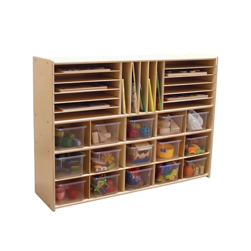 """Contender Kids Furniture C14001F Multi-Storage with 15 Translucent Trays, 33-7/8""""H, Assembled"""