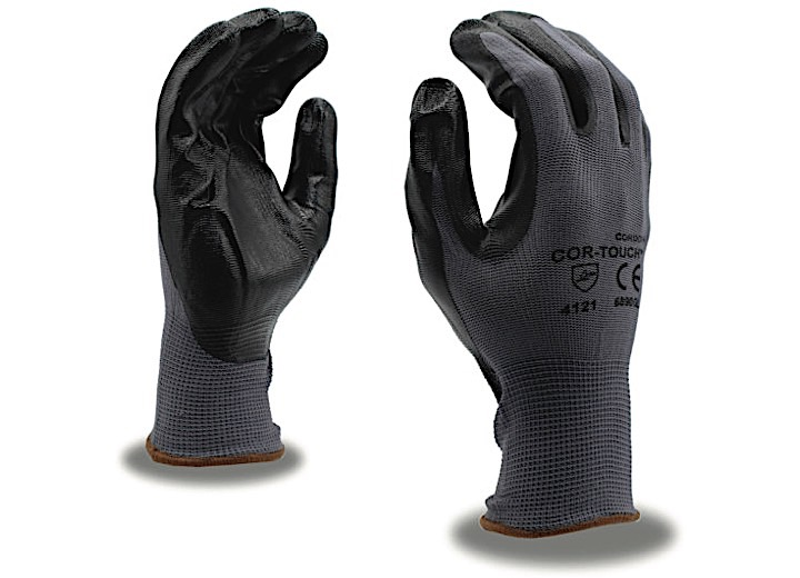 COR-TOUCH 13-GAUGE, GRAY NYLON SHELL, BLK FLAT NITRILE PALM COATING (SOLD BY THE DZ) -L