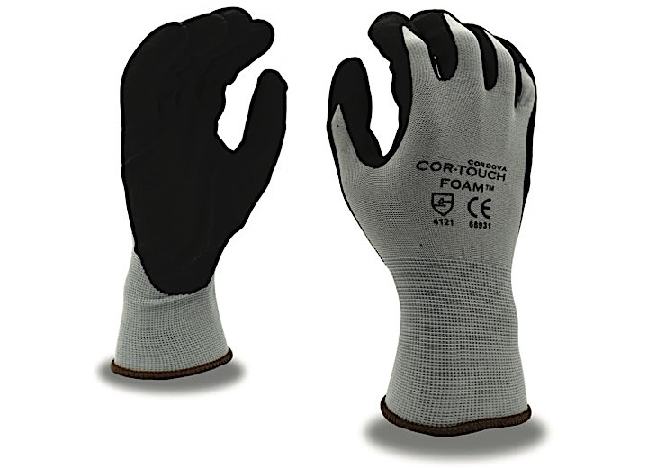 COR-TOUCH 13-GAUGE, GRAY NYLON SHELL, BLACK FOAM NITRILE PALM COATING(SOLD BY THE DZ) -L