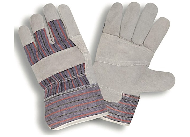 ECONOMY SHOULDER LEATHER PALM, PATCH PALM, STRIPED BACK, STARCHED SAFETY CUFF(SOLD BY THE DZ)