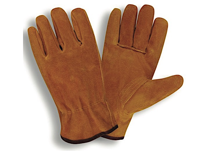 SELECT SPLIT LEATHER DRIVER, UNLINED, SHIRRED ELASTIC BACK,  KEYSTONE THUMB, RUSSET(SOLD BY THE DZ)