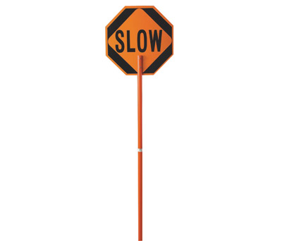 "Cortina Safety Products 24"" Red And Orange Plastic Pole Mounted Paddle ""STOP/SLOW"" With Engineer Grade Hi-Intensity Sheeting And"