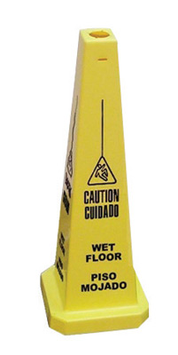 "Cortina Safety Products 36"" Yellow Traffic Floor Cone ""CAUTION WET FLOOR"" With Pictogram"