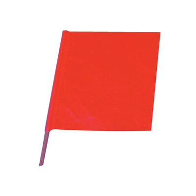 "Cortina Safety Products 18"" X 18"" Red And Orange Heavy Duty Vinyl Handheld Warning Flag With 24"" Wood Dowel Handle"