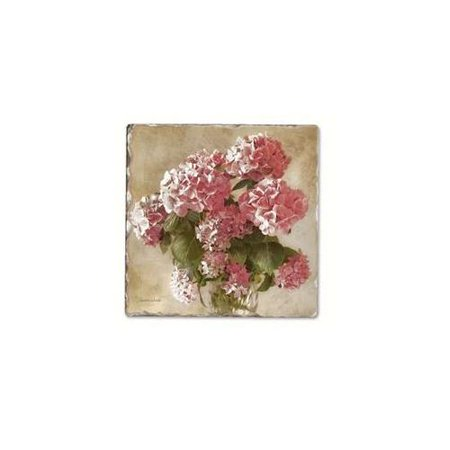 Antique Hydrangea Single Tumbled Tile Coaster