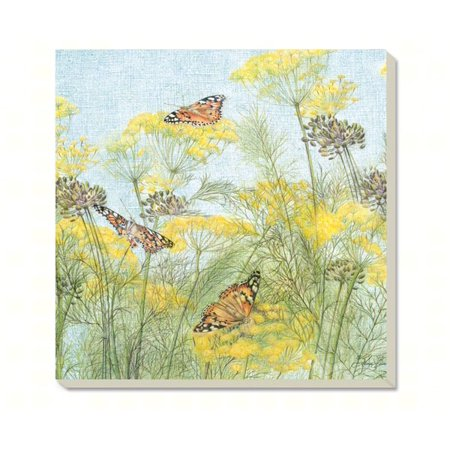 Butterflies on Yellow Coasters Set of 4