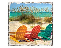 Beach Chairs Single Tumble Tile Coaster