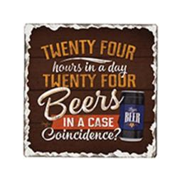 24 Beers Single Tumble Tile Coaster