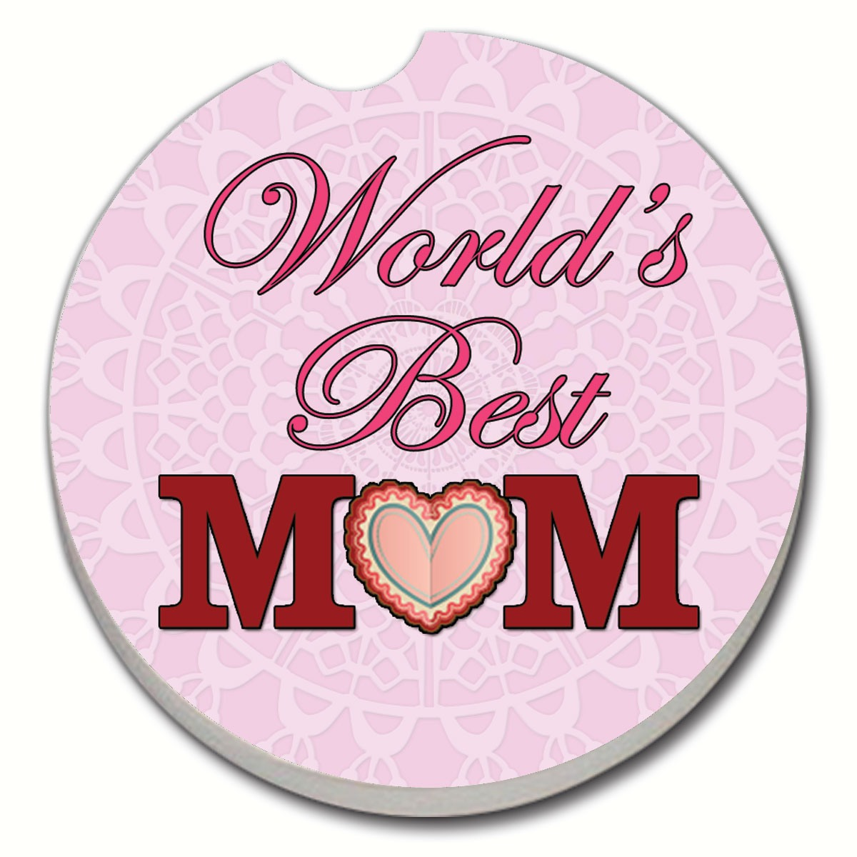 World's Best Mom Pink Car Coaster