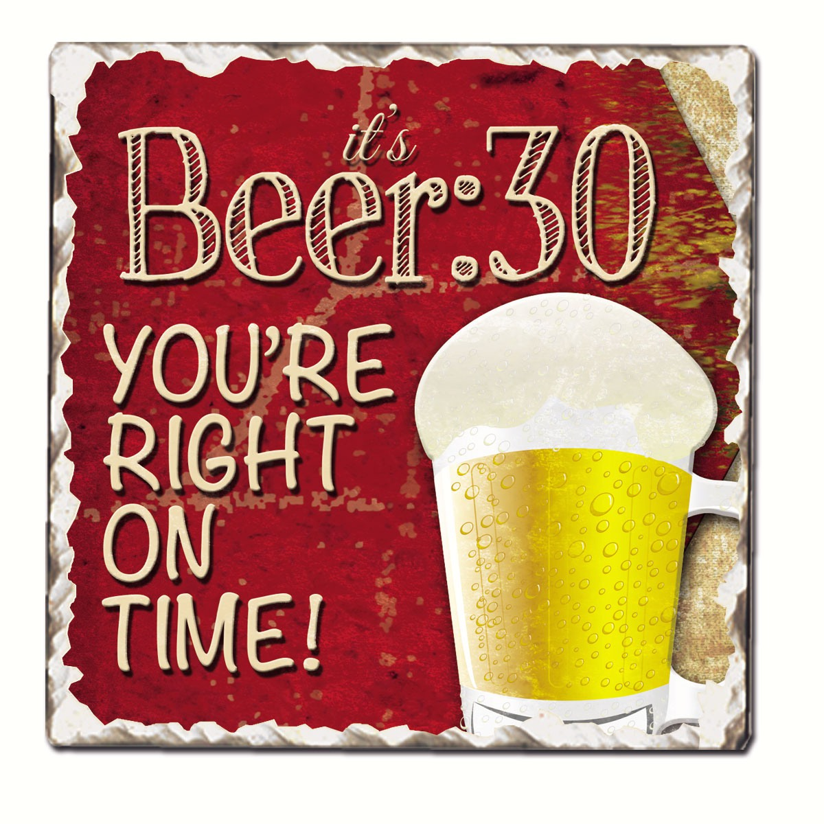 Beer 30 Single Tumbled Tile Coaster