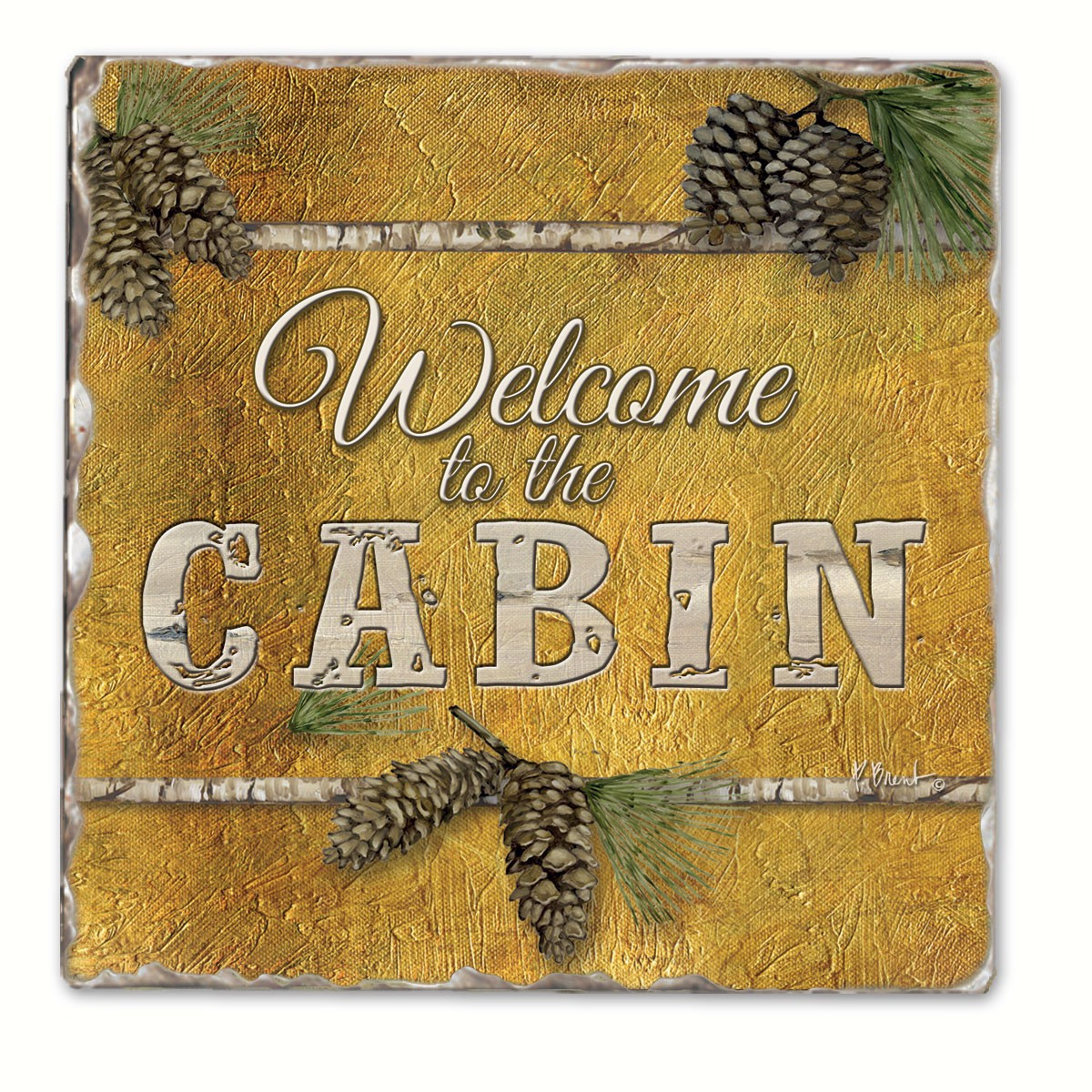 Welcome to the Cabin Single Tumbled Tile Coaster