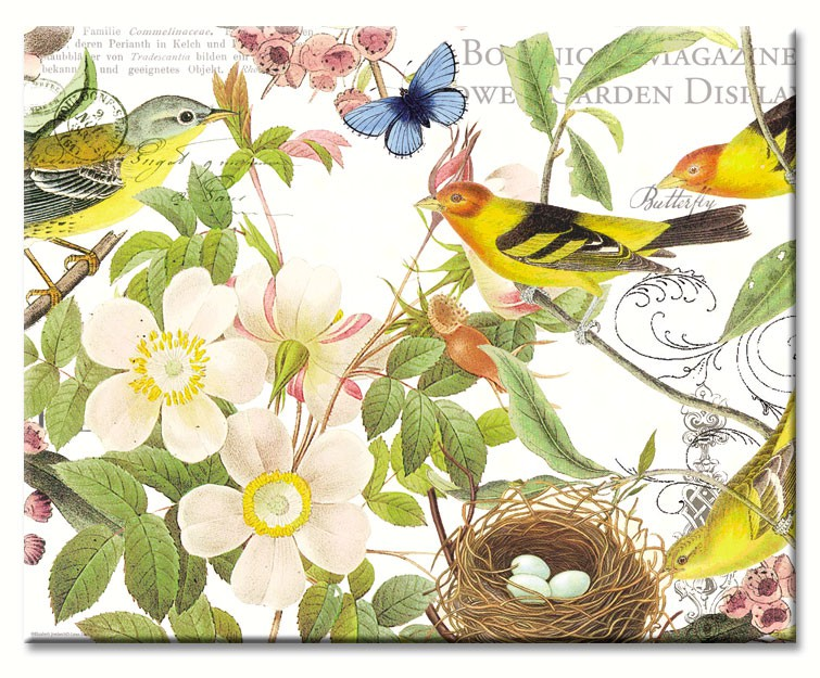 Botanical Birds Glass Cutting Board 12 x 15