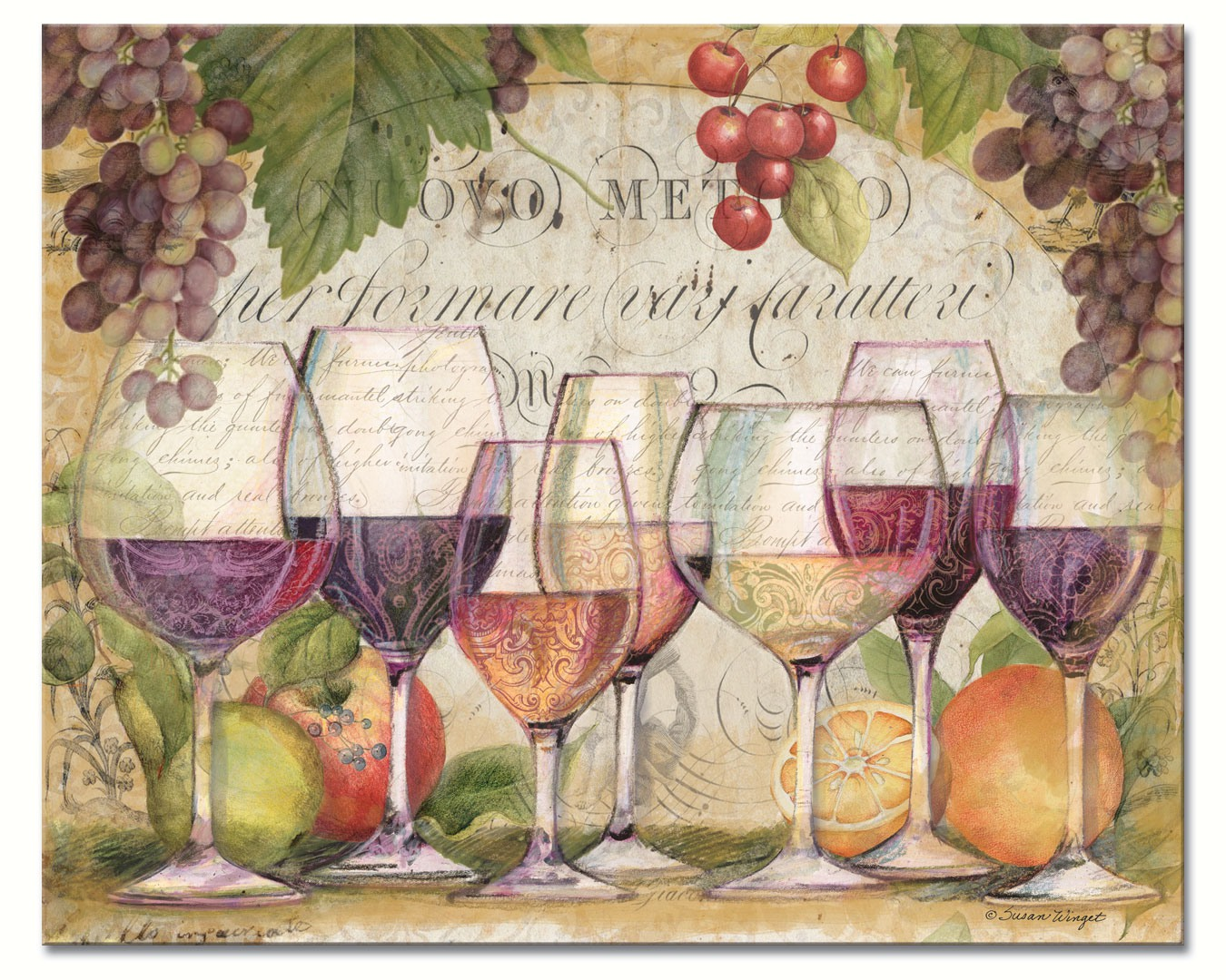 Wine Country Glass Cutting Board 12x15